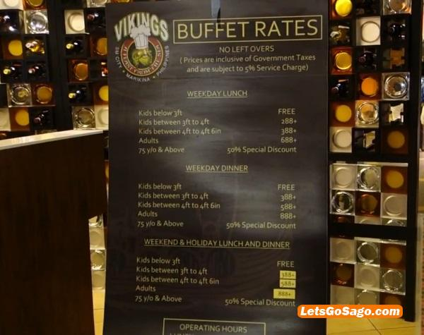 Vikings Buffet Rates